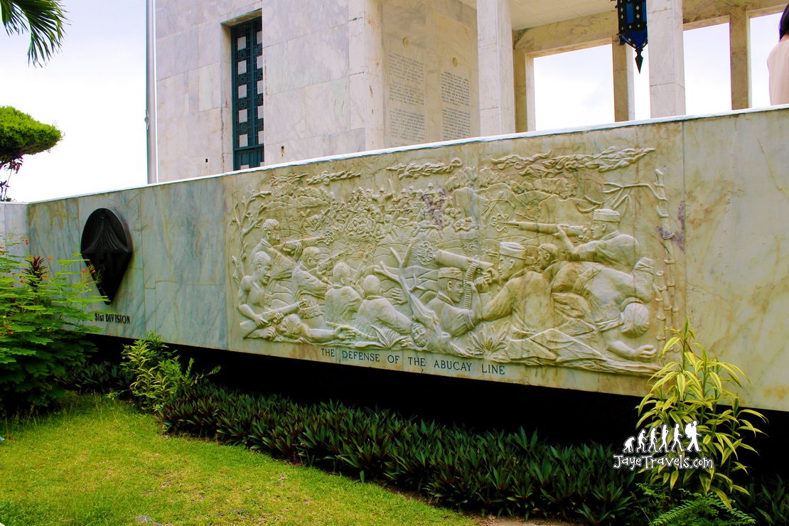 Sculpted figures illustrating the Battle of Bataan